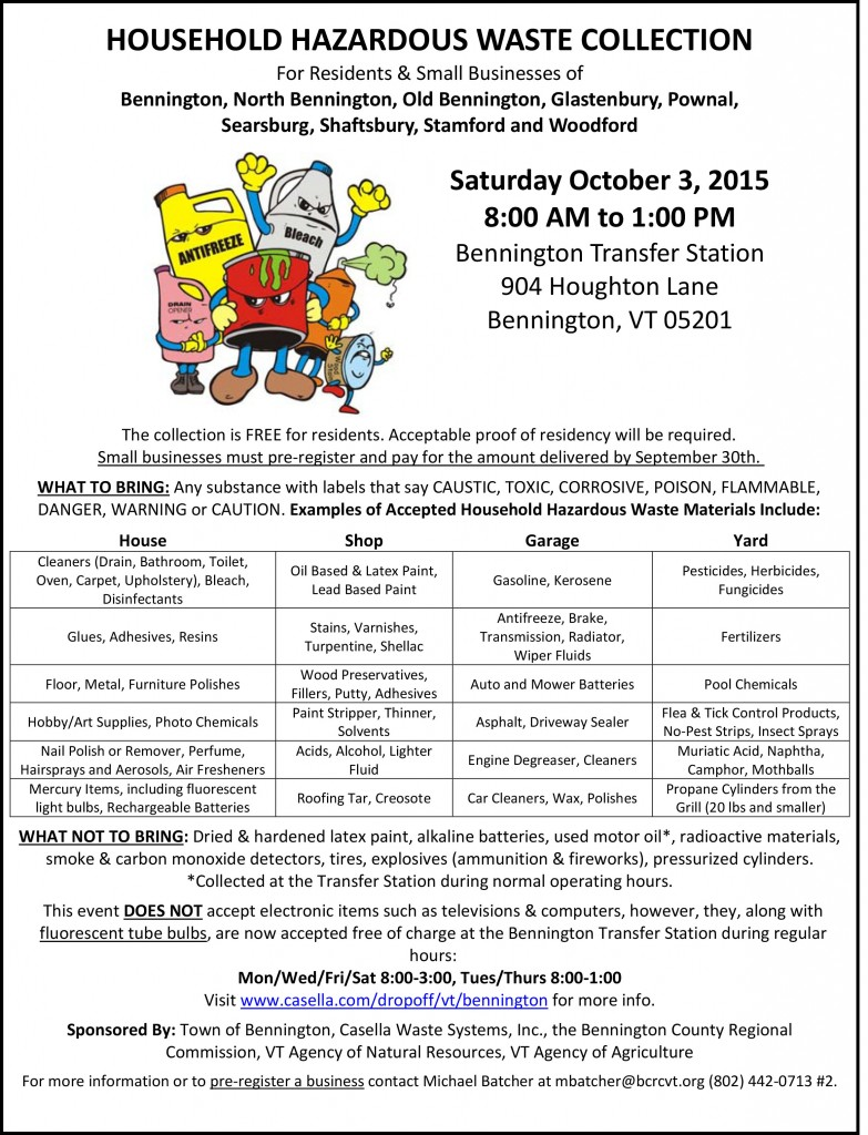 Bennington HHW Flyer Poster October 2015