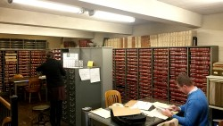 Checking various records in the vault.